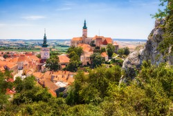 The City of Mikulov in the Czech Republic, with the Church of St Wenceslas and the Famous Castle