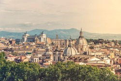 The city of Rome in the afternoon