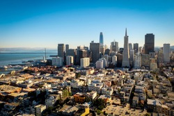 The city of San Francisco. This is the top view from the Coit Tower which you will see the city and building in San Francisco. Such a great city with beautiful view.