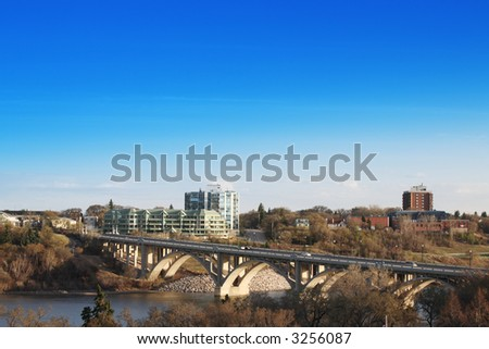 The city of Saskatoon, Saskatchewan, Canada.  A morning view of the Victoria Bridge in early spring.