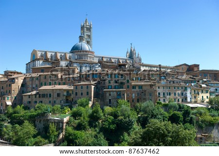 The city of Siena in the middle of Tuscany in Italy