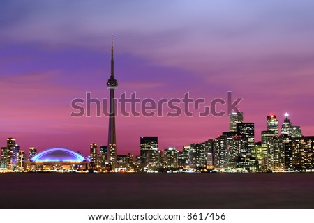 The city of Toronto at night.