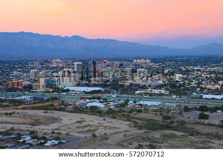 The city of Tucson, Arizona at twilight