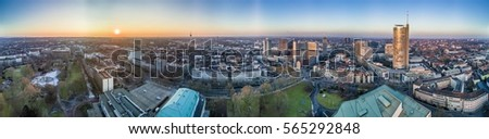 The city skyline of Essen during sunset, aerial  Stock foto ©