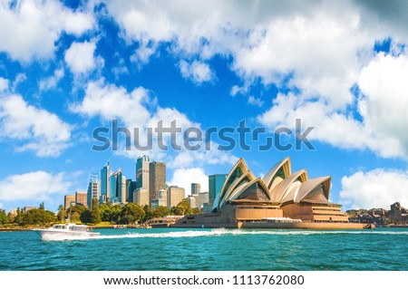 The city skyline of Sydney, Australia. Circular Quay and Opera House. #1113762080
