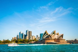 The city skyline of Sydney, Australia. Circular Quay and Opera House. touristic points, travel photo, sunny day