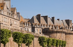 The city walls and houses of St. Malo in Brittany, France