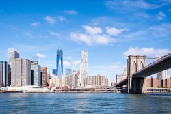 The cityscape of Manhattan on the riverside in New York, the USA during daytime