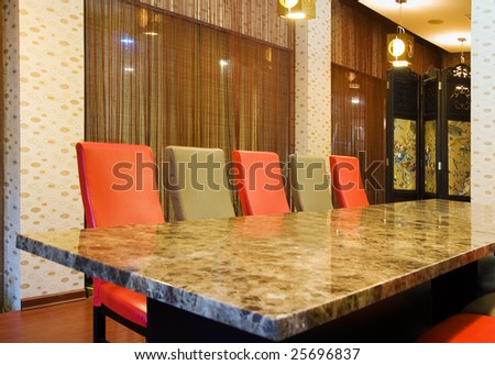 The classic conference office with  long formal table and chairs in a hotel,normally this room is used for small business conference or dining