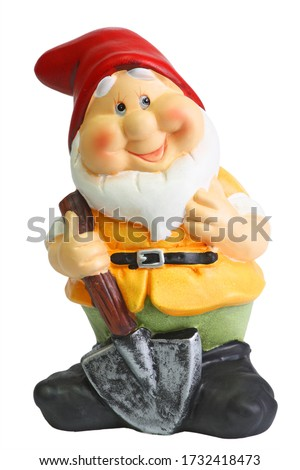 The Classic Garden Gnome Statue isolated on white background Photo stock ©