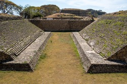 The Classic Period Mesoamerican ball court / ballgame court / ballcourt (150-650 CE) at Monte Alban, Oaxaca, Mexico, the large Zapotec archaeological site, and a UNESCO World Heritage site.