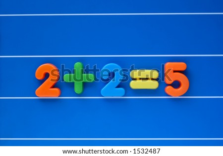 "The classic ""putting two and two together and getting five"", created from a child's toy number set. Sum placed in centre of image."