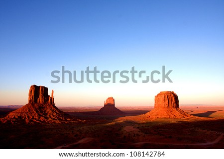 The classic western american  landscape in Monument Valley, Utah - stock photo