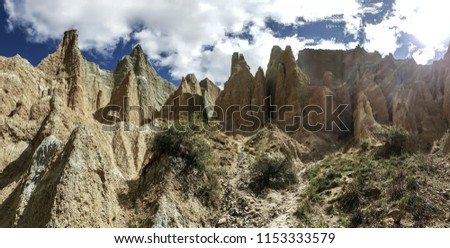 The Clay Cliffs are a famous attraction in New Zealand. Its tall pinnacles are separated by narrow ravines. These natural rock formations are formed a million years ago. It is breathtaking. #1153333579