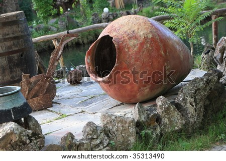 The clay pitcher in a outdoor restaurant, Armenia