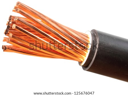 The cleared copper electric power cables with connectors