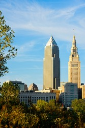 The Cleveland Ohio skyline with two of its major skyscrapers, the venerable Terminal Tower at right