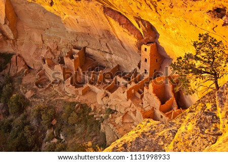 The cliff dwellings of Mesa Verde are some of the most notable and best preserved in the North American Continent. Mesa Verde National park, Colorado, USA Stock photo ©