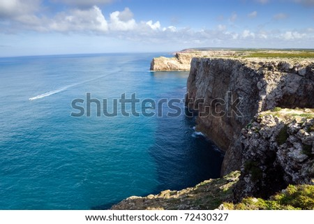 The cliffs at Cape Saint Vincent, near Sagres, Portugal, historically known as the end of the world
