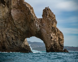 The cliffs at lands end in Cabo san Lucas located at the southern tip of the Mexican Baja.