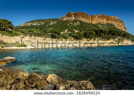 the cliffs of Cassis at sunset Photo stock ©