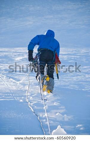 the climb on snowy peak