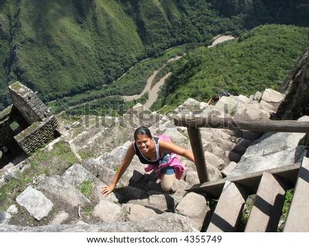 The climb to Hayna Picchu, Andes, Peru