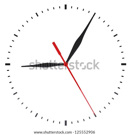 The clock and timestamp without numbers. Isolated render on a white background