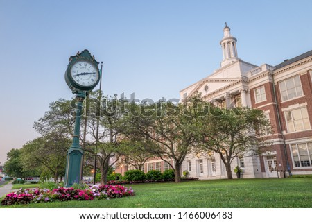 The Clock of the Greenwich City Hall, Connecticut  during a summer evening. Сток-фото ©