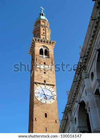 the clock tower and Basilica of  Palladio, Vicenza