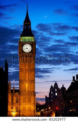 The Clock Tower at the Houses of Parliament London, England at sunset - commonly referred to as Big Ben.