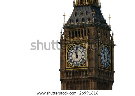 The clock tower of Big Ben, London, England, isolated on a white background