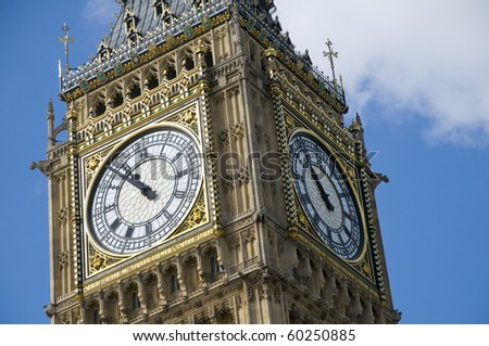 The clock tower of the Palace of Westminster in London, UK. It is commonly referred to as Big Ben although this is the nickname for the great bell.
