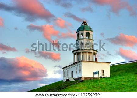 The clock tower on citadel hill, Halifax, Nova Scotia overlooks the Harbour. #1102599791