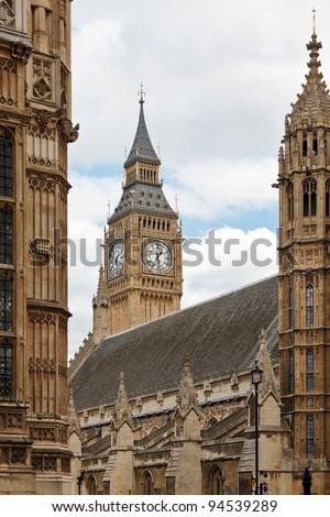 The Clock Tower that houses Big Ben bell,  Westminster Palace (Houses of Parliament), London, UK