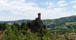 The Clock Tower (Torre dell'Orologio) of Brisighella. The Clock Tower was part of the defensive structure of Brisighella, Ravenna, Italy.