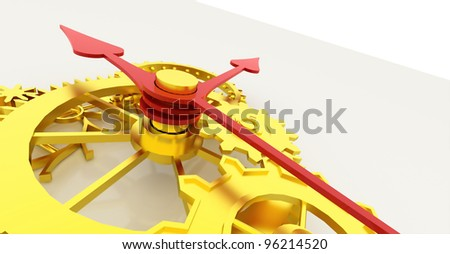 The clock with gold gears