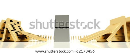 The close plan of golden dominoes bones in action of starting of the dominoes effect which was shoot on a wide-angle lens