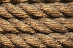 the close up image of twisted natural fibre rope
