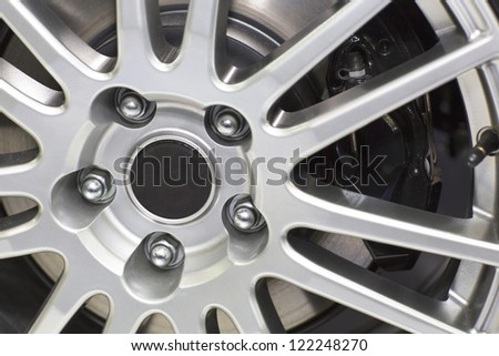 The close up shot of car wheel