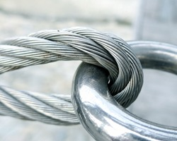 The close view of wire rope texture