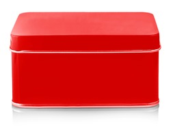 The Closed Empty red metal box close-up izolated on white background