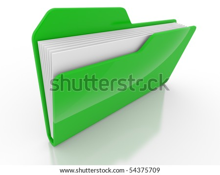 The closed green computer folder on white a background
