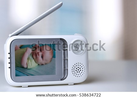 The closeup baby monitor for security of the baby #538634722