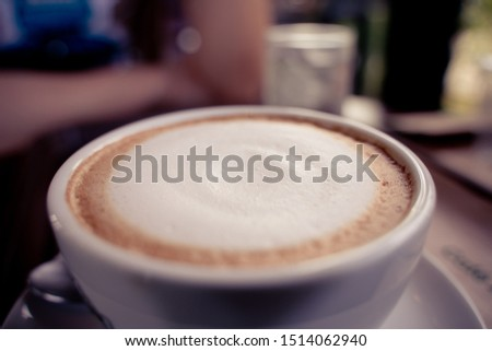 The Closeup Cappuccino. Cup Of Cappuccino Or Latte Coffee #1514062940