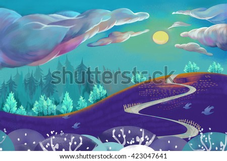 Stock Photo The Cloud Climb up the Hill. Watercolor Style Digital Artwork