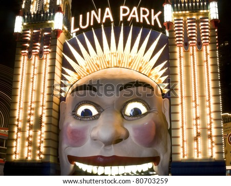 The clown face at the entrance of Luna Park, one of the iconic entertainment precincts in Sydney, Australia
