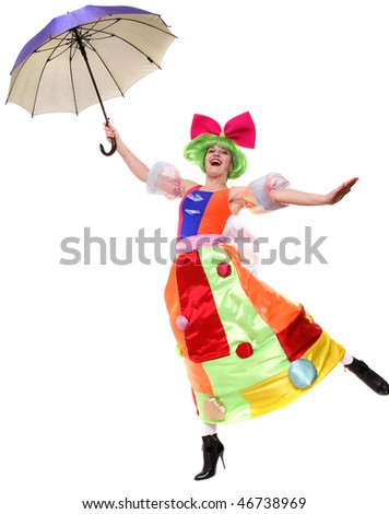 The clown with an umbrella flies - stock photo