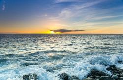 The coast of Atlantic ocean on sunset, Gran Canaria, Canary islands, Spain