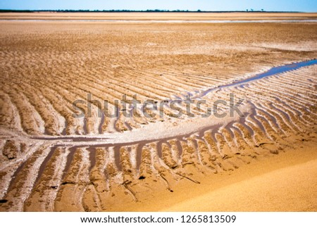 The coastal strip at low tide. A wide strip of desert sand to the horizon, a desert area with wet sand, a wavy relief with different patterns runs along it. Makey, Queensland, Australia.